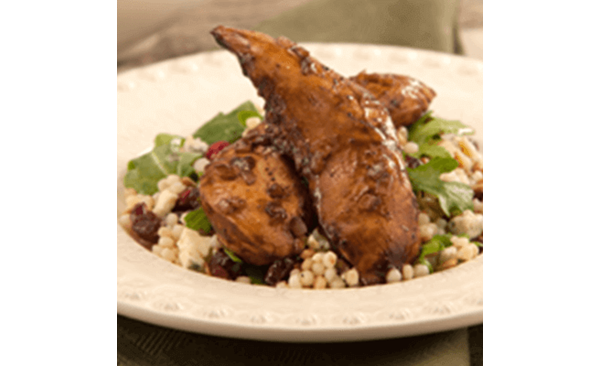 Balsamic Roasted Chicken Tenders with Couscous Salad